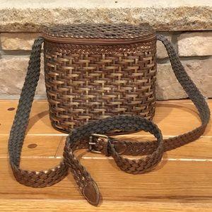 Franco Sarto Vintage Leather Basket Weave Oval Bag